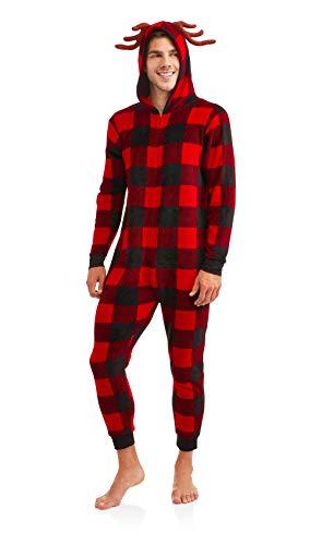 MJC International Adult Mens Womens Buffalo Check Plaid Onesie Pajama (Red, S/M) ()