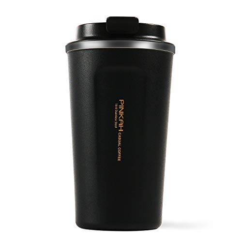 Vacuum Insulated Travel Mug Stainless Steel Coffee Tumbler Water Bottle Thermos Cup Double Wall With Leak Proof Lid For Hot & Cold Drinks Gift Mug PJ-3549 17oz (Black)