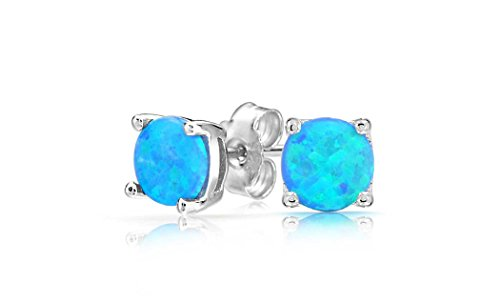 (Women Sterling Silver Magnificent Lab Created Blue Opal Stud Earring, Ear Pierced Only (Round))