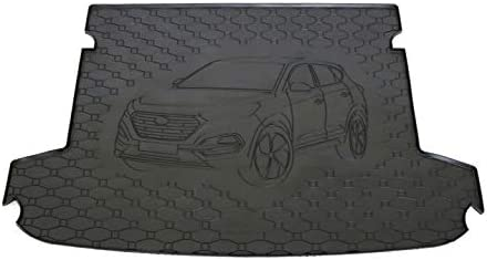 V-MAXZONE PARTS Black Rubber Trunk Cargo Liner Floor Mat Mats with Motif VM25 Tray Carpet Mud Guard Cover Protector All Weather Car Accessories Compatible with Hyundai Tucson 2015 2016 2017 2018