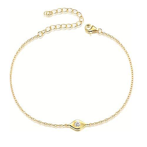 18k Gold Evil Eye - Lemon Grass Dainty Evil Eye Bracelet Sterling Silver Gold Bracelets