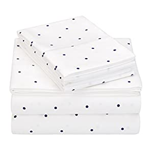 Pinzon 170 Gram Flannel Cotton Bed Sheet Set, California King, Navy Dot