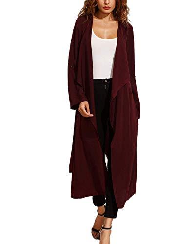Cintura Manica Parka Casual Lunga Winered Vintage Giaccone Spacco Giacca Autunno Vento Moda Colore Puro Outerwear Inclusa Donna nXvW4qOxgv