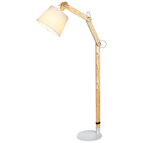 Brightech Oliver - Mid Century Modern LED Arc Floor Lamp for Living Rooms - Natural Ash Wood Standing Arch Light - Architectural Scale Beam Tall Lamp ()