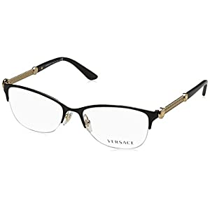 Versace VE1228 Eyeglass Frames 1291-53 - Black/pale Gold VE1228-1291-53