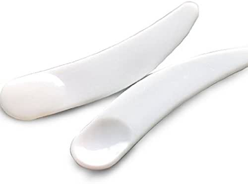 Onwon 100 PCS Mini Disposable Curved Cosmetic Spatula Scoop Makeup Mask Spatula Plastic Spoon (White)