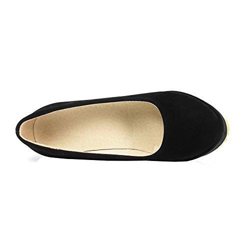 Classique Eud59 Chaussures Compensées Fermées Compensé Shoes Plateforme Escarpin Femme Talon Ageemi Noir xnFYwv06q