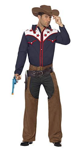 Smiffys Men's Rodeo Cowboy Costume, Shirt, Chaps and Hat, Western, Serious Fun, Size L, -