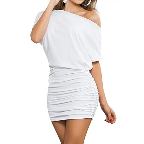 Sunhusing Ladies Solid Color Sexy Crossbody Shoulder Strappy Waist Dress Slim Bag Hip Mini A-Line Dress White
