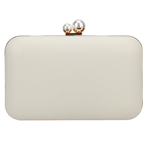 Fawziya Clutch Evening Bags Double Pearl Metal Frame Party Purses For -