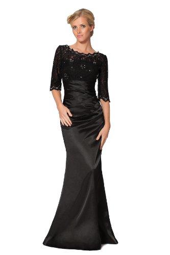 SEXYHER Elegante Perlen Halb Sleeve Spitze Abendkleid - EDJ1422 Schwarz