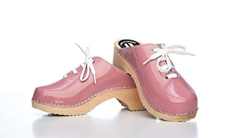 Lackleder Clogs Schweden Schwedenclogs PU Pink Clogs Original RSPIUw