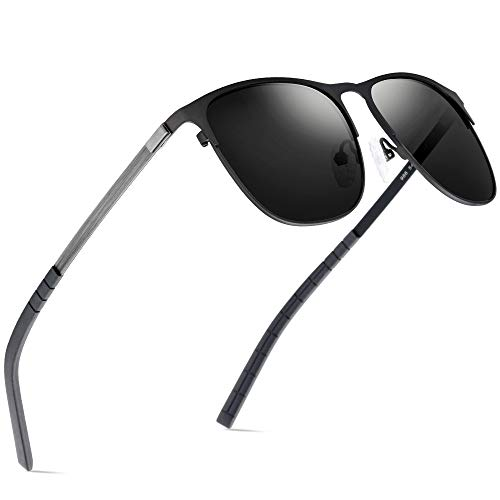FONEX Square Screwless Alloy Polarized Sunglasses for Women 986 (Gray Lens) ()