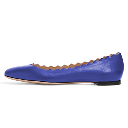 Round Flats On Size Waterproof Blue Walking Comfortable Toe Shoes 4 Slip Women FSJ US Royal 15 Pumps Ballet tfqIW