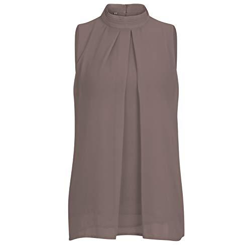 YLorcce Womens Pleated Chiffon Tanks Double Layered Sleeveless Blouse Tshirts Turtleneck Tunic Tops (S, Grey)