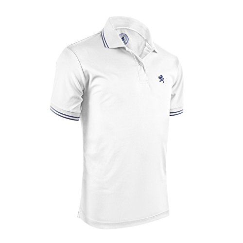 Albert Morris Short Sleeve White Striped Polo Shirt for Men, Small, Single Pack ()