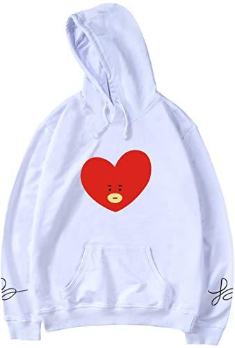 Kpop Felpa Hoodie Bangtan Bianco Bts Con Simpatico Tata Cappuccio Emilyle Fans Cartone Stampa Animato Boys Donna qYxSp56wP