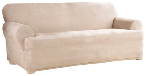 SureFit Stretch Suede Separate Seat T-Cushion Sofa Slipcover - Sand