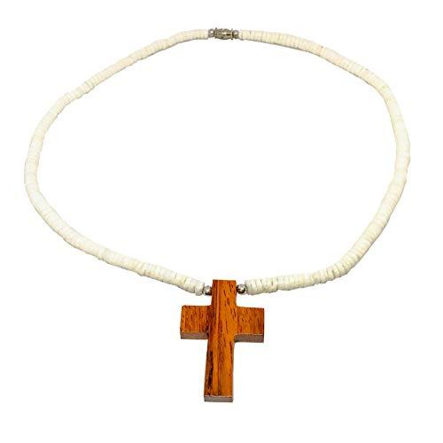 Zero Gravity Hawaii Hawaiian Jewelry Koa Wood Cross with Smooth Heishi Puka Shells Necklace ()