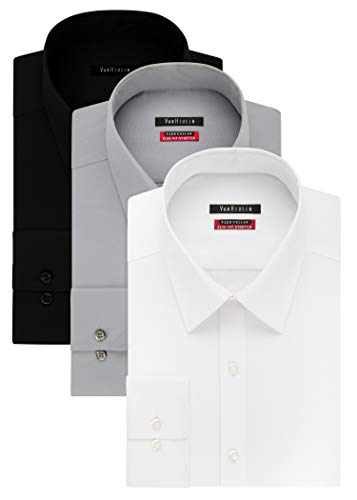 Van Heusen Men's Flex Collar Slim Fit Stretch Dress Shirt, White/Black/Grey Mist, 15.5