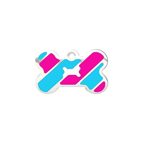 (LeSharp Dog Accessories, Metal Bone Shape Dog Cat Collar Name Tag Engraving ID Phone Address Pendant Gift - Rose Red + Blue)