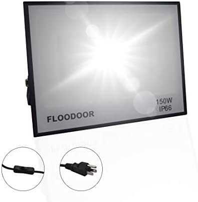Floodoor 150W LED Flood Light 12,000lm 6500K Daylight White,IP66 Waterproof Super Security FloodLights for Park Building Stadium Parking Lot