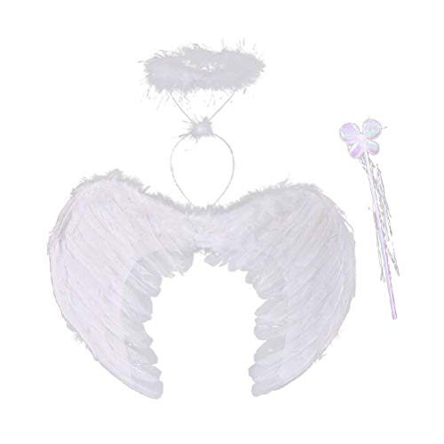 Polymer White Angle Style Costume Feather Angel Wings with Halo and Wand Extra Large Size -