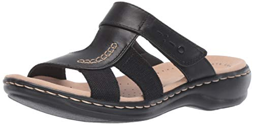 CLARKS Women's Leisa Emily Sandal Black Leather/Textile Combo 090 M US