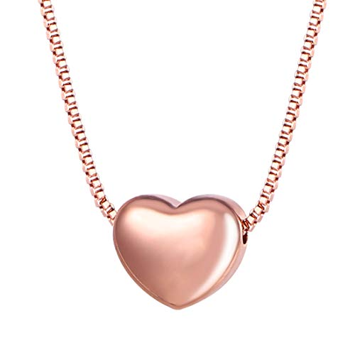 U7 18k Italian Rose Plated Heart with Box Chain Pendant Necklace, 17-19 Inch