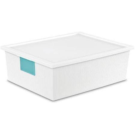 Sterilite 26 Quart ID Box- White, Case of 6, Bright colored dry-erase write-on ID labels Stylish textured base and polished lid