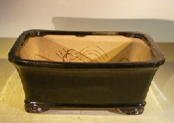 Bonsai Boy's Black Ceramic Bonsai Pot- Rectangle Professional Series 10 x 8 x 4