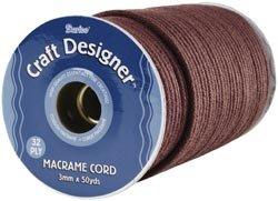 Bulk Buy: Darice Craft Designer Macrame Cord 3mm X 32Ply X 50 Yards Brown Poly 1971-16 (2-Pack)