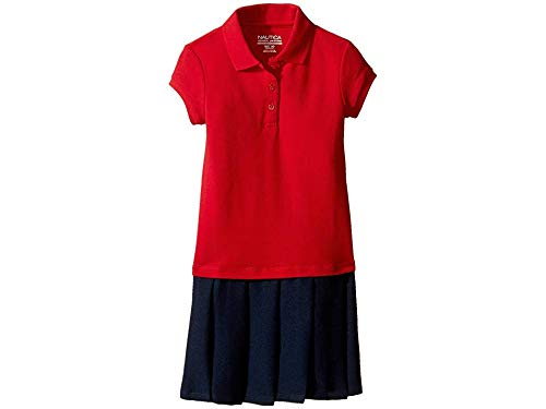 Nautica Little Girls' Uniform Pique Polo Pleated Dress, Red, - Uniform Jumper Dress