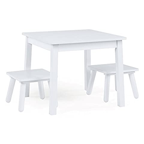 Tot Tutors Kids Wood Table and 2 Stools Set, White (Highpoint)