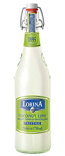 Lorina Sparkling Soda Water Coconut Lime Flavor (25.4oz) Naturally Flavored Carbonated Soda Water, Artisan Crafted, Gluten-Free Beverage - No Artificial Colors or Flavors (On-the-go Size)
