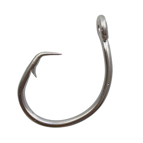 Tuna Circle Fishing Hooks Stainless Steel Big Game Saltwater Hook 30Pcs Extra Strong Short Shank Circle Hook 8/0-20/0