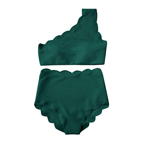 SUNyongsh Lady's Swimwear High Waisted Swimsuits Two Pieces Scalloped Trim Bathing-Suit One Shoulder Bikini Swimmer Green ()