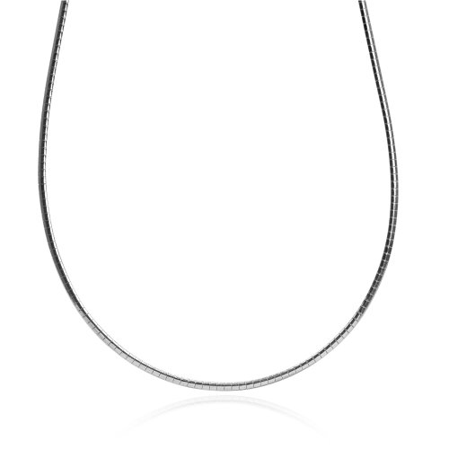 Sterling Silver Italian Omega Flat Chain 2mm 18 Inches Long (2 Mm Omega Necklace)