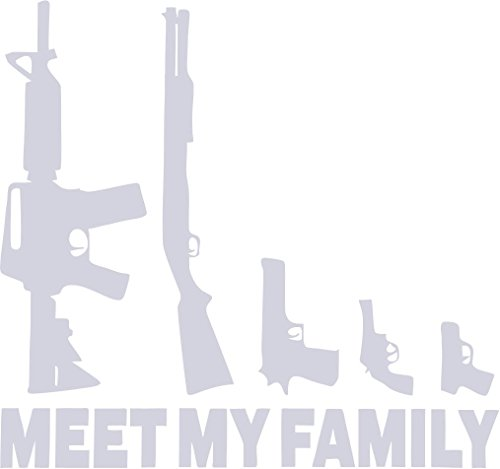 Country Life GUNS MEET MY FAMILY REFLECTIVE 3M CAR/TRUCK/DECAL STICKER WITH ALCOHOL PAD ~ SIZE 6.75