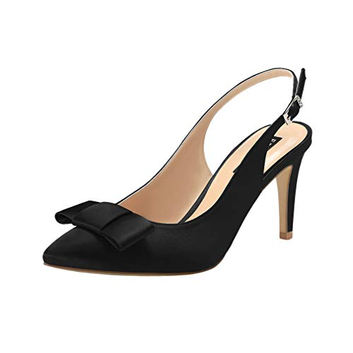 y Toe Pumps Mid Heels Wedding Evening Party Prom Slingback Satin Shoes Black Size 7 ()
