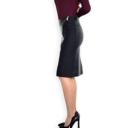 46 Femmes 50 40 44 36 Faux 38 Crayon Noir Cuir 48 Jupe Taille 42 Les EU Haute q61wxU64