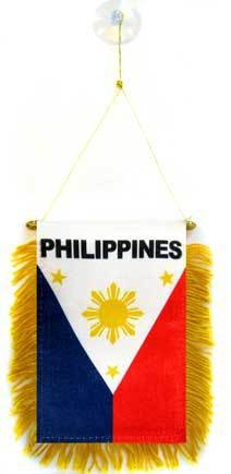 (AZ FLAG Philippines Mini Banner 6'' x 4'' - Filipino Pennant 15 x 10 cm - Mini Banners 4x6 inch Suction Cup Hanger)