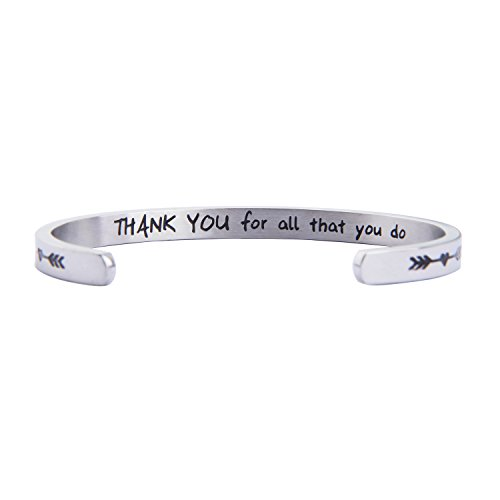 MAOFAED Appreciation Gift Thank You for All That You Do Cuff Bracelet Thank You Gift for Nurse Teacher Coach Employee (Thank You Bracelet) -