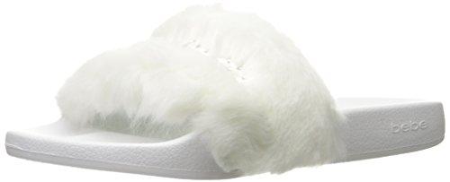 bebe Women's Furiosa Slide Sandal, White, 9 M US