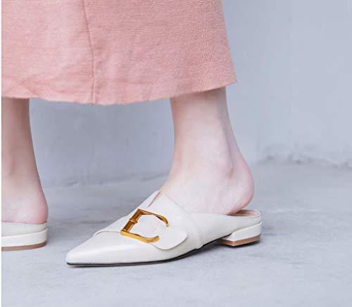Estiva Vera 35 Sandali Beige Quadrati Sandali Dimensioni Fibbia con Pelle Colore Piatti Sqw7pq