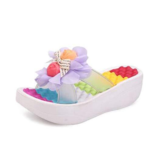 Blanc Pantoufles Fleur Mode Plage 03 Compensées Tongs Nouvelle Été Femmes Plateforme Bain Chaussures Sandales q7wpaxPT