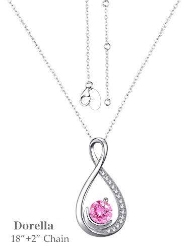 426c7e8dd Mothers Day Necklace Sterling Silver Jewelry Gifts for Mom Pink Tourmaline  Love Infinity Half Moon Swarovski