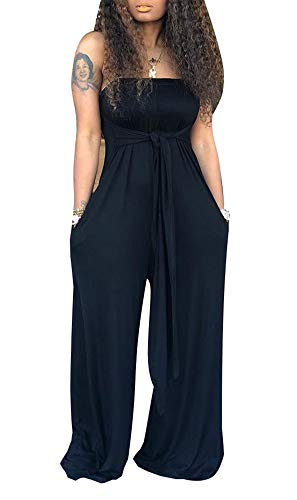 LAJIOJIO Casual Jumpsuit for Women Off Shoulder Strapless High Waisted Long Jumpsuits Palazzo Pants L Black