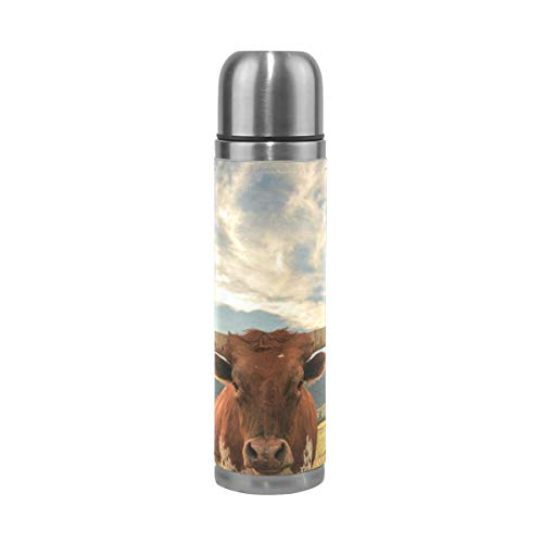 Thermos Texas Longhorn Steer Cycling Insulated Stainless Steel Water Bottle Leak Proof Thermos Leather Cover 17 - Stainless Thermos Steel Texas Longhorns