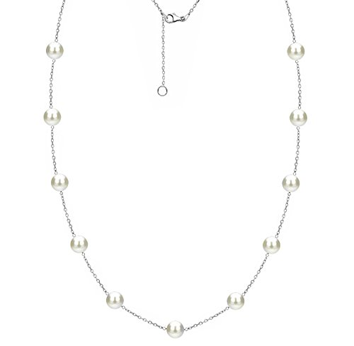 - Sterling Silver Tin Cup Station Chain Freshwater Cultured Pearl Jewelry for Women 8-8.5mm 18 inch